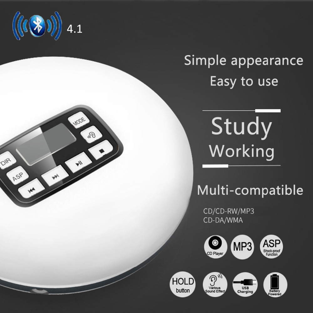 2018 HOTT Bluetooth4.1 Portable CD Player With LED Display Jack Anti-Skip Protection Anti-Shock Personal 8Music Disc Player 611T2018 HOTT Bluetooth4.1 Portable CD Player With LED Display Jack Anti-Skip Protection Anti-Shock Personal 8Music Disc Player 611T