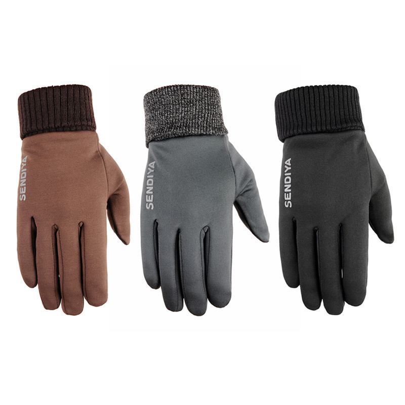 1 Pair of Warm Keeping Gloves Windproof Non-slip Touch Screen Winter Snow Skiing Running Outdoor Sport Full Fingered Gloves