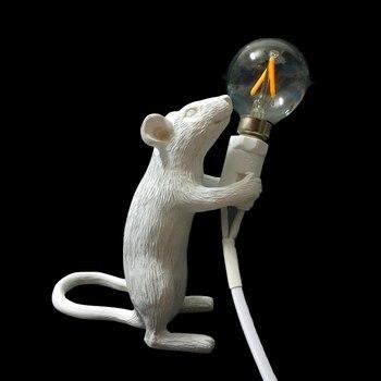 Modern Desk Lamp Mouse Resin White Black Gold LED E12 EU/USA Plug Rat Table Lamp Light Desk Light Kids Gift Animal Table Light
