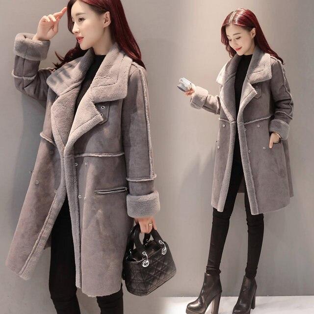 2018 New Lambs Wool Coat Winter Jacket Women Plus Velvet Thicken Long Coat Fashion Parkas Women's Clothing Chaquetas Mujer C3590 5