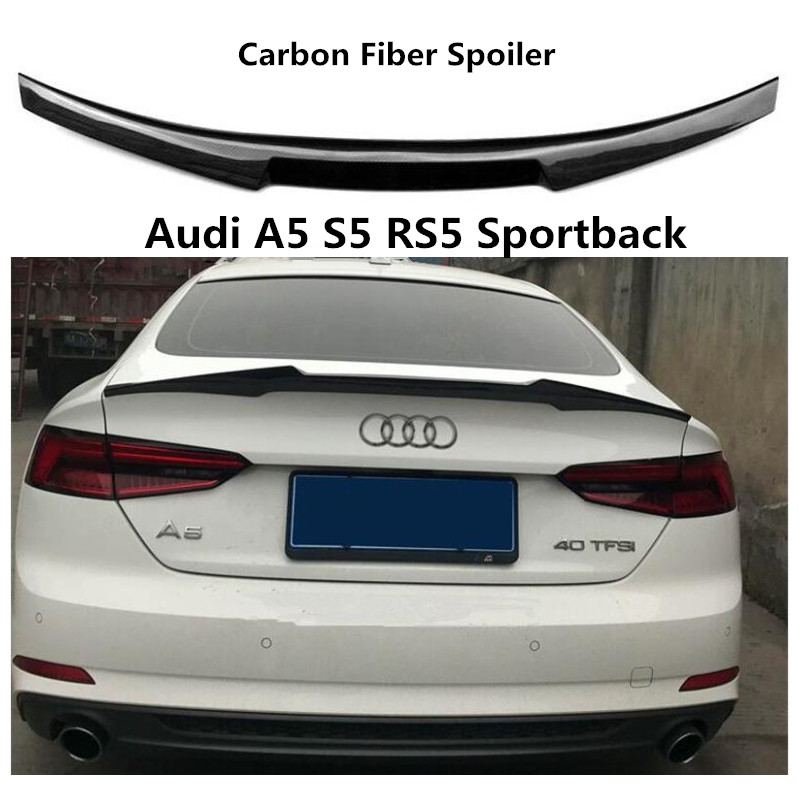 Carbon Fiber <font><b>Spoiler</b></font> For <font><b>Audi</b></font> <font><b>A5</b></font> S5 RS5 <font><b>Sportback</b></font> 2009-2019 High Quality <font><b>Spoilers</b></font> Auto Accessories By EMS image