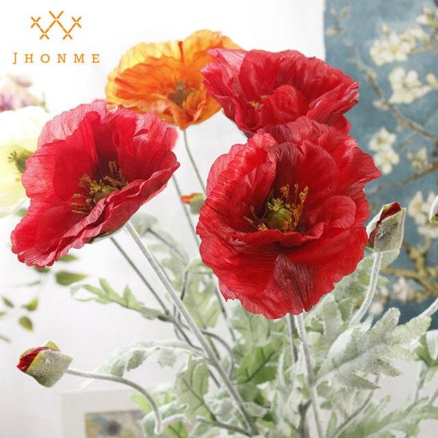 Aliexpress buy 1pc artificial big poppy flowers branch for 1pc artificial big poppy flowers branch for spring home wedding decoration long stem fake flowers flores mightylinksfo