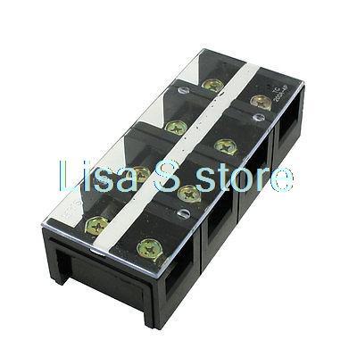 цена на 600V 200A Dual Row 4 Positions Barrier Screw Terminal Block Black