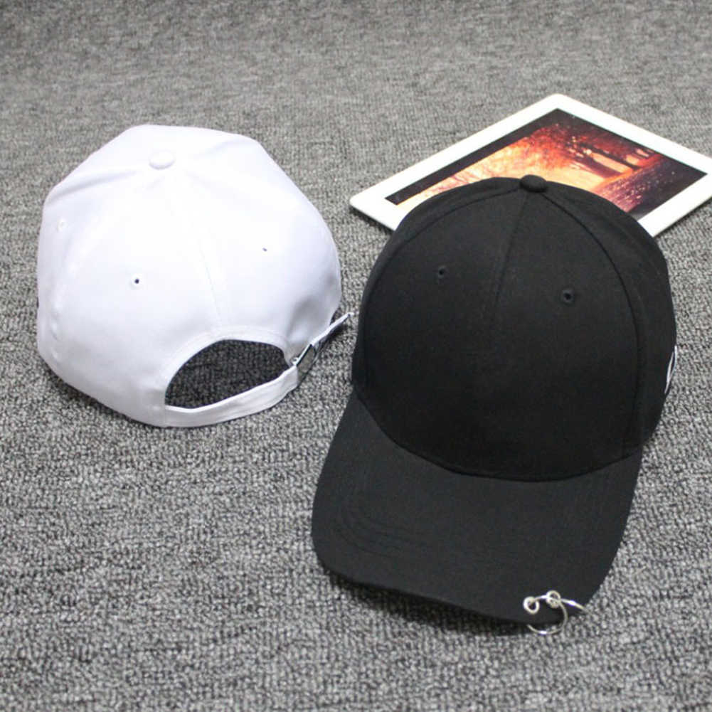 5150daca ... Korean Style Cap White Hoop Cap Ring Pierced Curved Eaves Baseball Cap  Snapback Hat Hip- ...