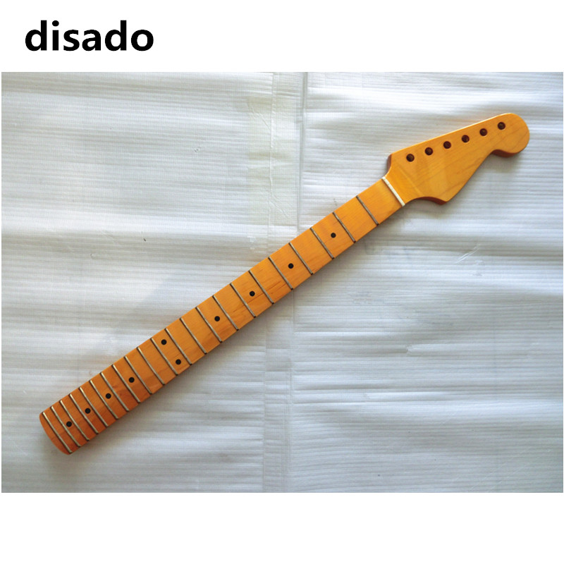 disado 22 Frets inlay dots maple Electric Guitar Neck yellow color glossy paint Guitar Parts guitarra accessories customized disado 22 frets inlay dots reverse electric guitar neck wholesale guitar parts guitarra musical instruments accessories