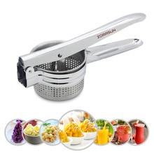 Prensador de patatas de acero inoxidable, exprimidor de frutas y verduras, herramienta de prensado
