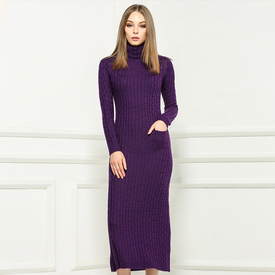 Online Shop Winter 2016 Designer Wool Maxi Dress Women's Long ...