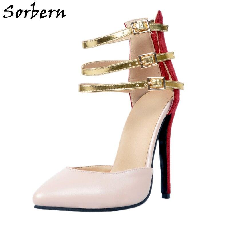 Filles Sorbern nu Rouge Zipper Femmes Pour Pu Pointu À Haute Talons Mignonnes Chaussures 12 34 Personnalisé Multi Taille Retour Nude Cm Stilettos Hauts Pompe HYEDe9W2I