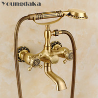 Free Shipping Brand Brass Material Bronze Finish Luxury Bathroom Rain Shower Set,Vintage Carving Bathtub Mixer Facuets LY 738