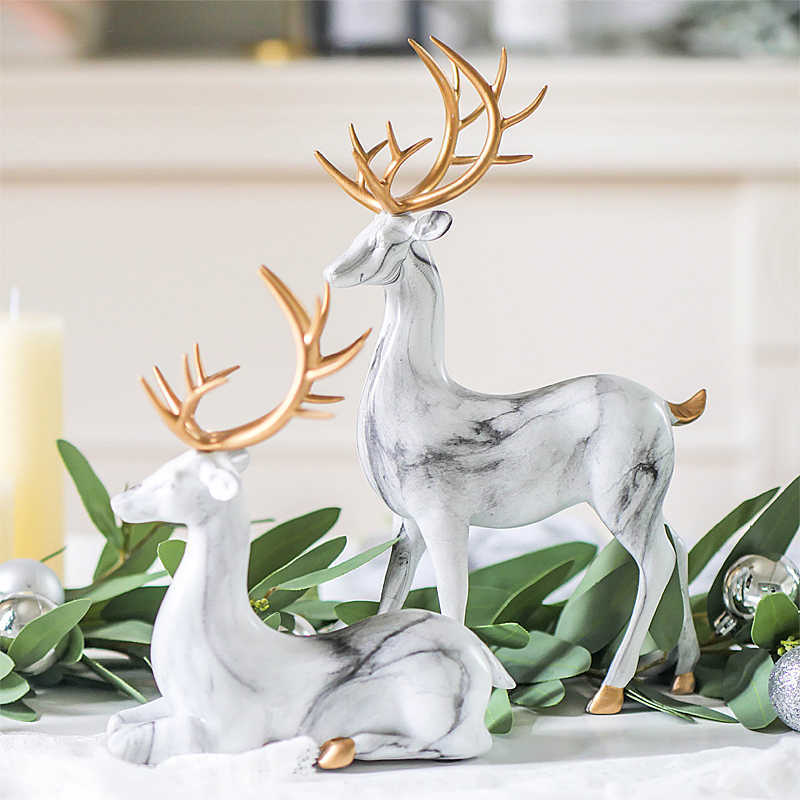 Creative Home Living Room Ornaments Imitation Marble Christmas Elk Decoration Tv Wine Cabinet Decoration Resin Handicraft Aliexpress