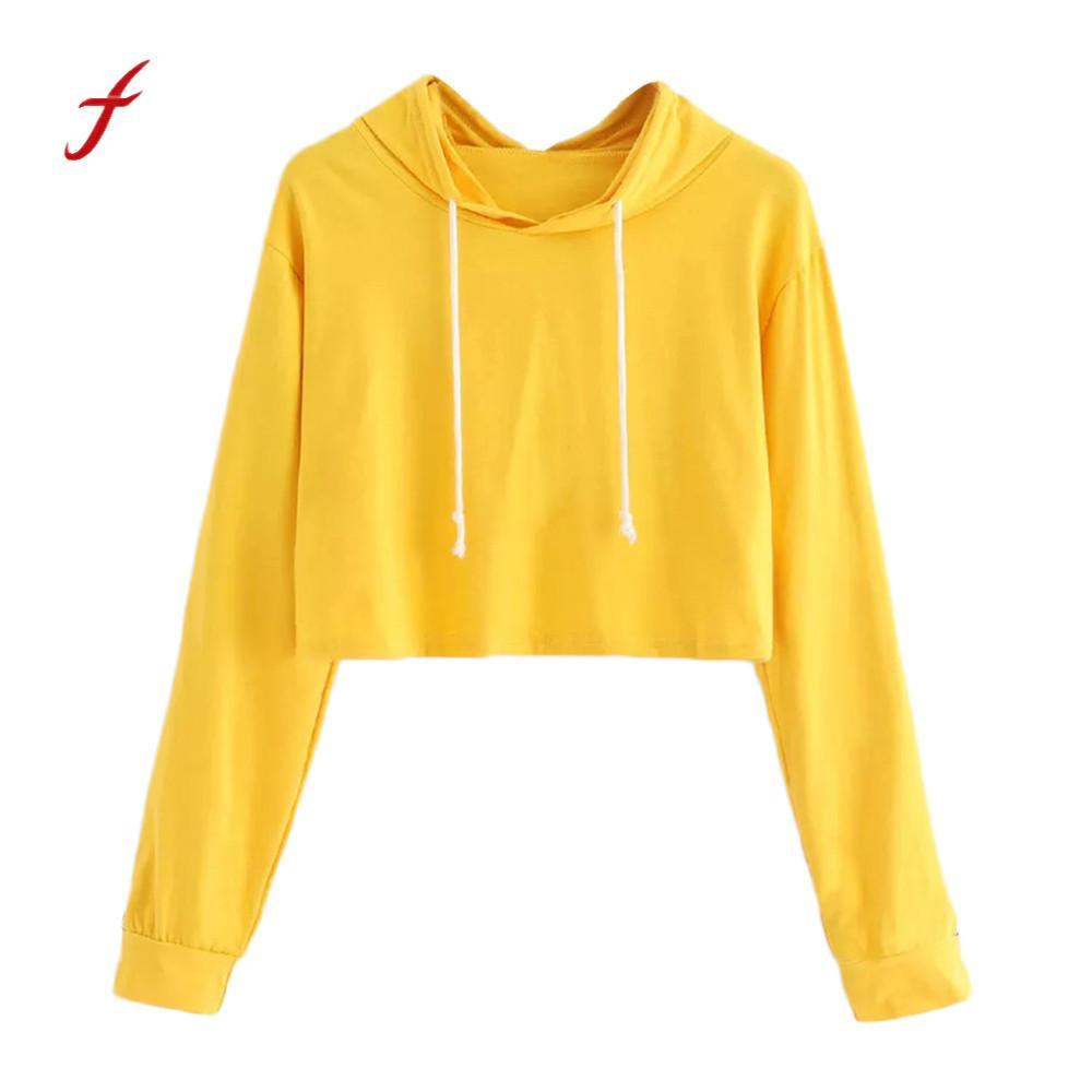 Feitong 2018 Solid Yellow Crop Tops Hooded Sweatshirt Womens Long Sleeve Pullover Hoodie Sweatshirt harajuku Sudadera Mujer PY