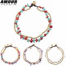 Amourjoux этнический стиль ручной работы 5 красочных камней