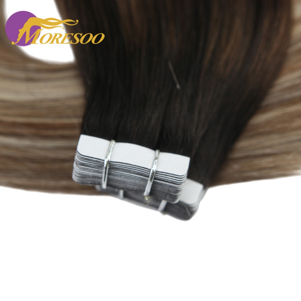 Moresoo Remy Human Hair Tape Extensions Brown and Blonde Ombre Balayage Hair Color Tape ins Skin Weft Hair Extensions 20PCS 50G