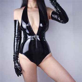 2020 New Patent Leather Extra Long Gloves 70cm Long Emulation Leather PU Bright Leather Bright Black Female Free Shipping WPU04 1