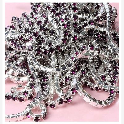 1 ярд/шт, 30 цветов, стеклянные хрустальные стразы на цепочке, Серебряное дно, Пришивные цепочки для рукоделия, украшения сумок для одежды - Цвет: Deep Purple