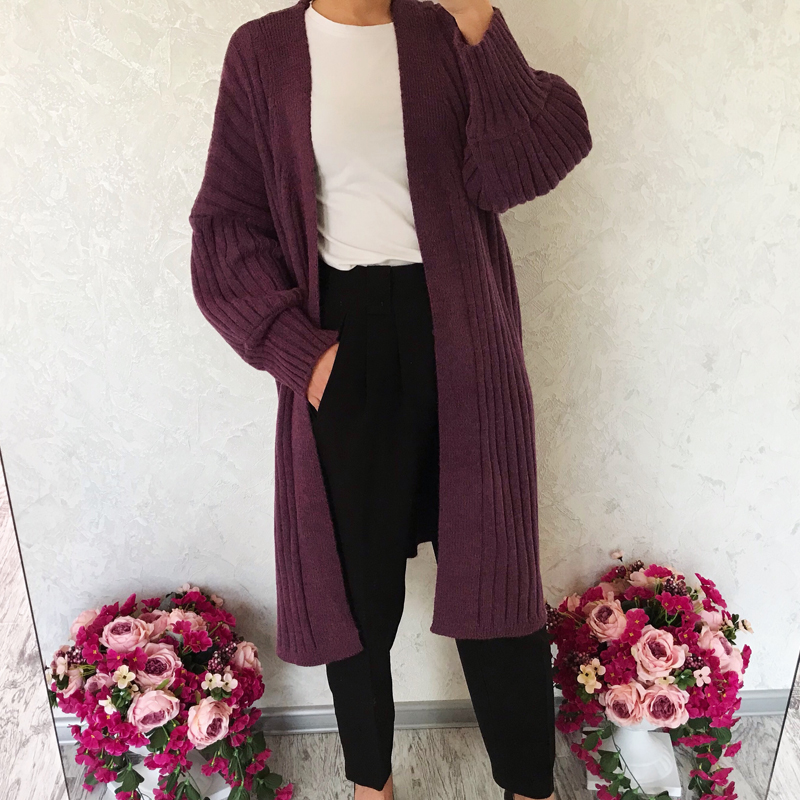2019 spring female knitted coat casual solid color cardigan sweater and oversized long sweater