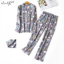 Женский пижамный комплект с длинным рукавом, Хлопковая пижама с мультяшным рисунком, милая Пижама с котом, повседневный домашний комплект из 2 предметов на осень и зиму
