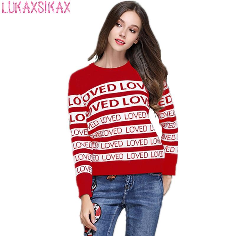 2019 New Women Autumn Winter Thicken Warm Sweater High-end Custom Fashion LOVED Letter Stripe Pattern Designer Runway Sweater