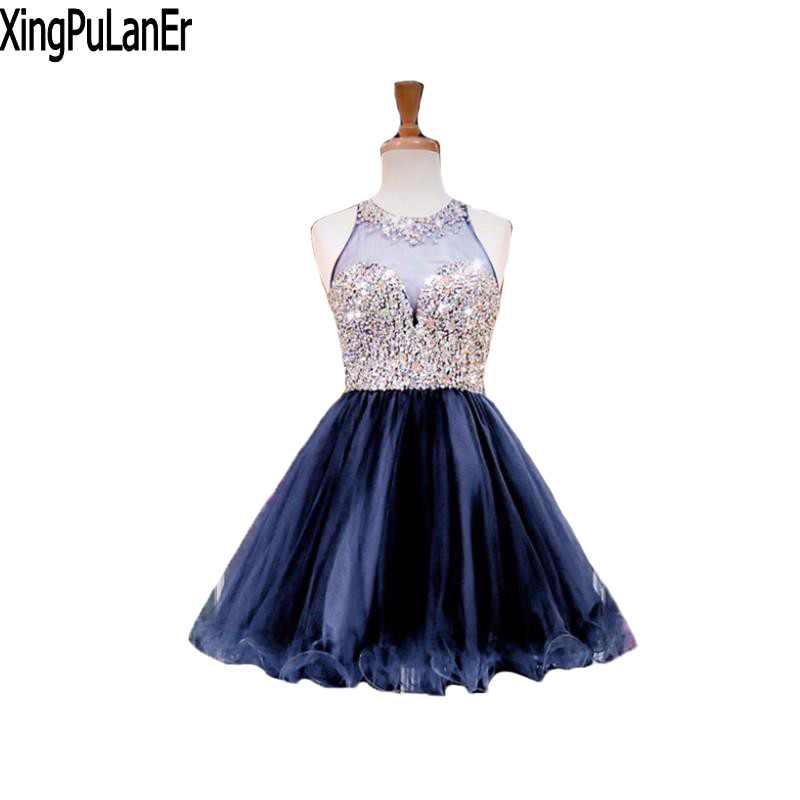 Новый Бальные платья Роскошные бисером Темно синие короткие Платья для вечеринок Милая рукавов Иллюзия праздничные Бальные платья