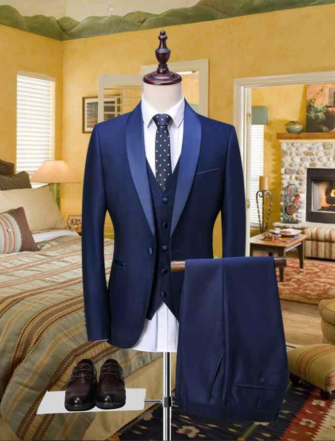 Detail Feedback Questions about 2018 New Brand blue Formal Men Suits