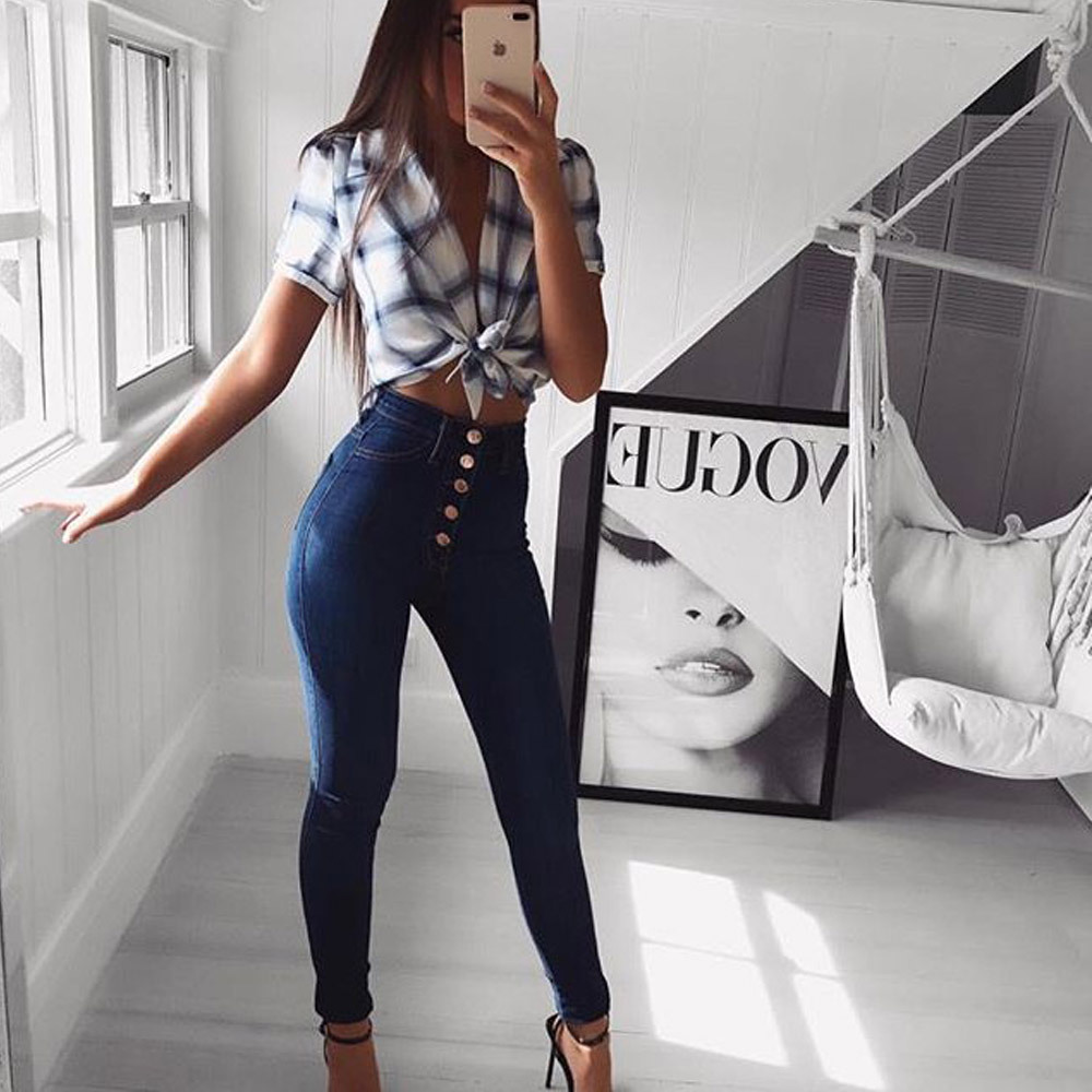 High Waist   Jeans   for Women 2018 Spring Autumn Blue High Waisted Skinny   Jeans   Woman Pencil Denim Pants Female