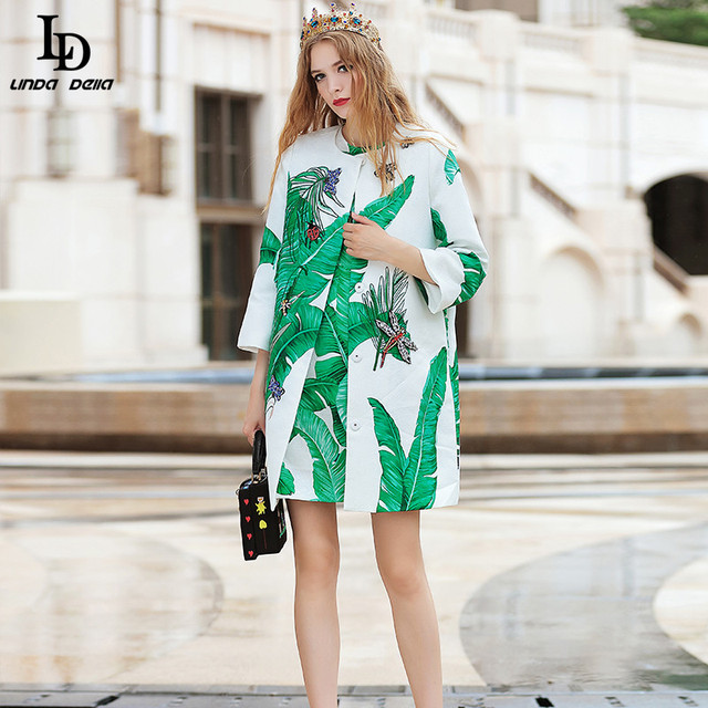 LD LINDA DELLA 2016 Runway Trench Coat Autumn Winter Women's High Quality Banana leaf Printed Beaind Jacquard Cotton Trench Coat