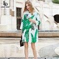 LD LINDA DELLA 2016 Runway Trench Coat Outono Inverno das Mulheres de Alta Qualidade folha de Bananeira Impresso Beaind Jacquard de Algodão Trincheira casaco