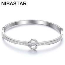 Luxury Crystals Stainless Steel Bracelets Heart Shaped Forever Love Bangles Double With Female Brand Bracelet for Women