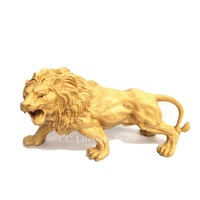 Wood carving Lion Sculpture Animal statue Home Decoration Crafts ornaments Collection Decor miniature festival gifts