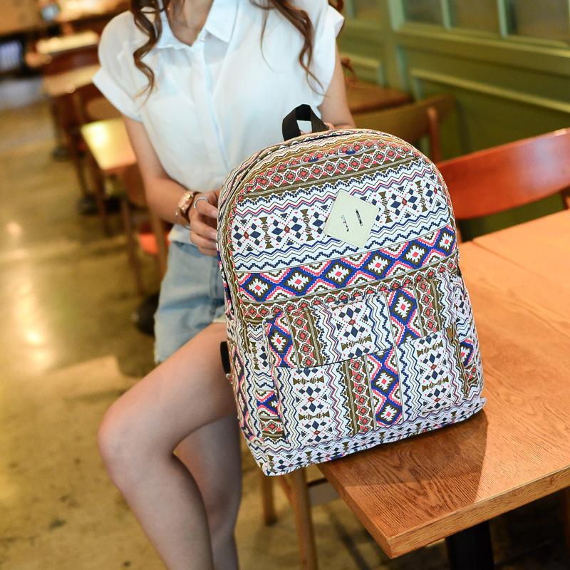 Korean National Women Backpacks Large Capacity Geometric Pattern Travel Bags Canvas School Laptop Cell Phone Bag