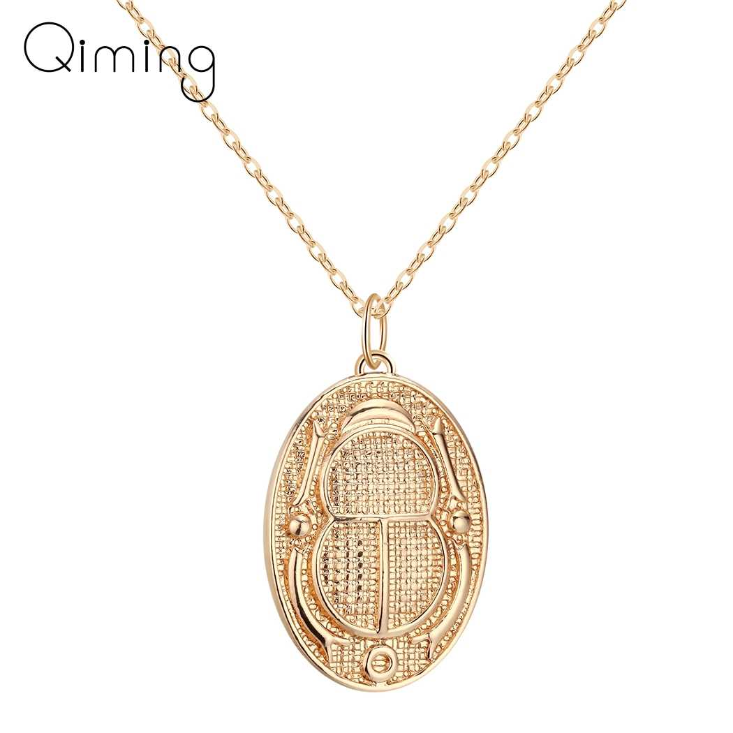 Ancient Egyptian Insect Necklace For Women Men Hieroglyph Cartouche Scarab Beetle Charm Pendant Gold Necklace Gift