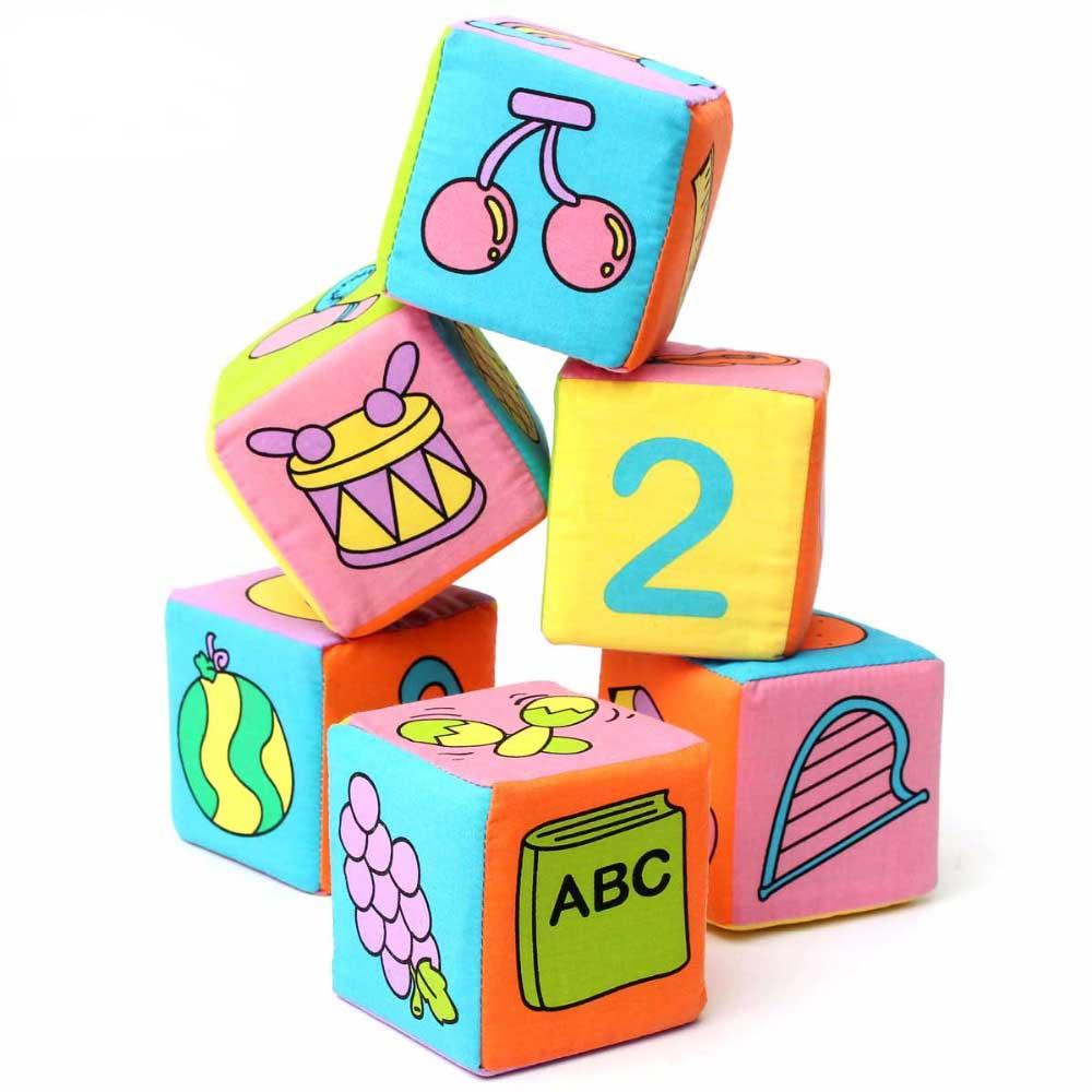 बच्चों के सीखने और शैक्षिक खिलौने उपहार 6pcs / सेट के लिए 2017 नए कपास बच्चे बहुक्रियाशील नरम जादुई बेल खड़खड़ ब्लॉक