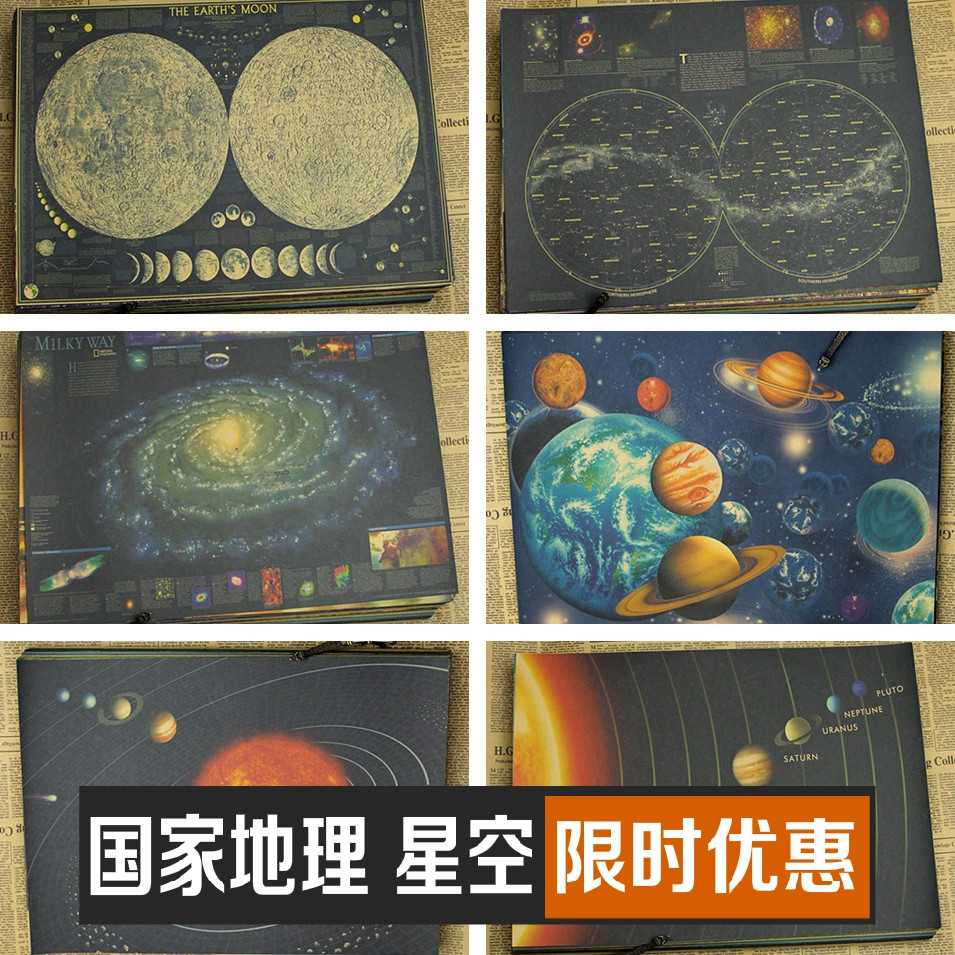 Astronomy & Space Vintage Retro Matte Kraft Paper retro Poster Wall Sticker Home Decora earth Galaxy Moon solar system planets