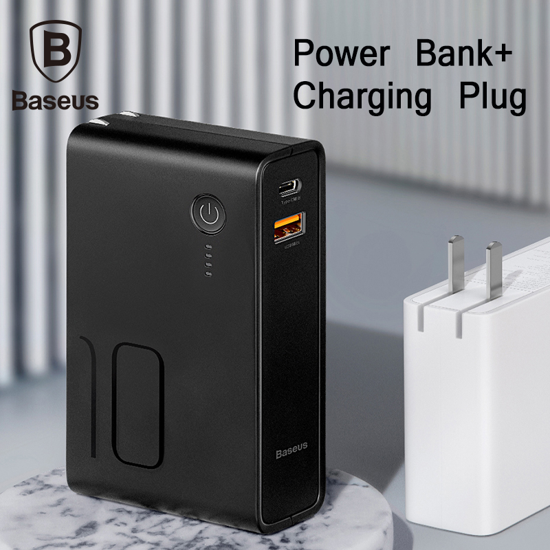 Baseus 10000mah Power Bank With Usb Plug 3A Type-C And Usb Output Powerbank PD3.0+QC3.0 Fast Charger For IPhone Samsung Huawei
