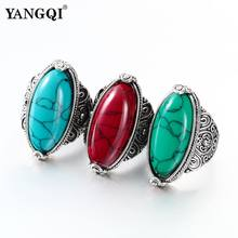 Fashion Jewelry Vintage Look Tibetan Alloy Antique Silver Plated Personality Red Green Blue Oval Calaite Ring Male Female Ring(China)