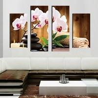 4ピース/セット大抽象石緑の葉ピンクスパflowerscanvasプリント絵画現代壁アートピクチャーホームインテリアht006