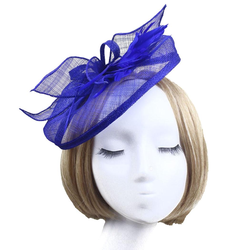 Fascinator de la red de Flor de pelo azul marino y pluma tocados en un peine Bodas