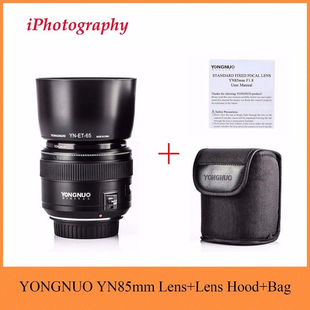 YONGNUO YN85mm F1.8 Lens + Paraluce Standard Medio Teleobiettivo Prime fisso lente di messa a fuoco Per Canon EF 7D Fotocamera 5D Mark III 80D 70D