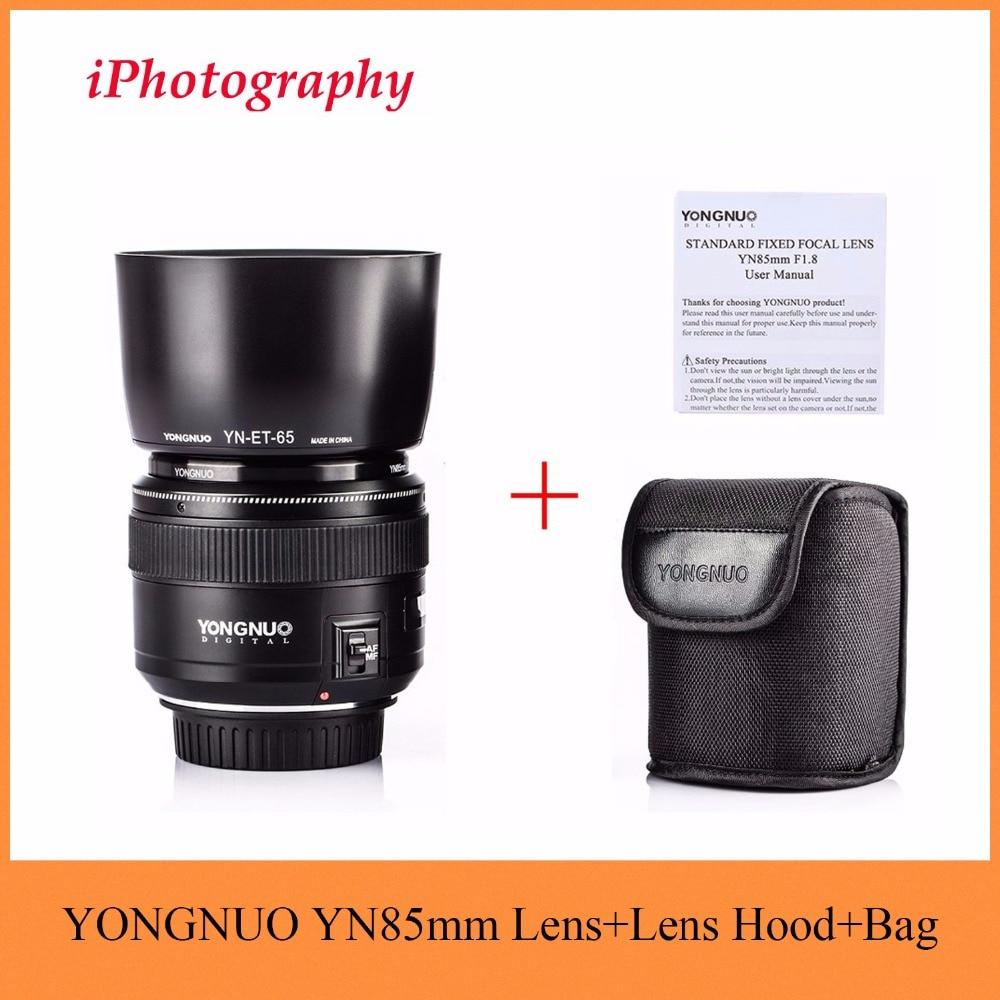 YONGNUO YN85mm F1.8 Lentille + Lens Hood Standard Moyen Téléobjectif fixe Préférentiel focus lens Pour Canon EF Caméra 7D 5D Mark III 80D 70D