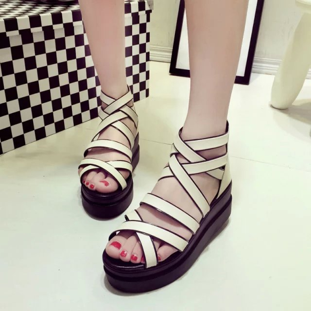 43376367c9f 2015 mujeres de zapatos de plataforma sandalias blancas cuñas de plataforma  plana de cuero PU mujer