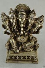 China Budismo do Tibete 5 Cabeça de Prata Ganapati Ganesh Lord Ganesha Estátua de Buda