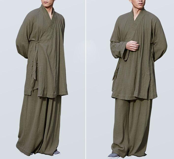 unisex Summer cotton Zen buddhist shaolin monk clothing kung fu lohan arhat suits lay meditation uniforms