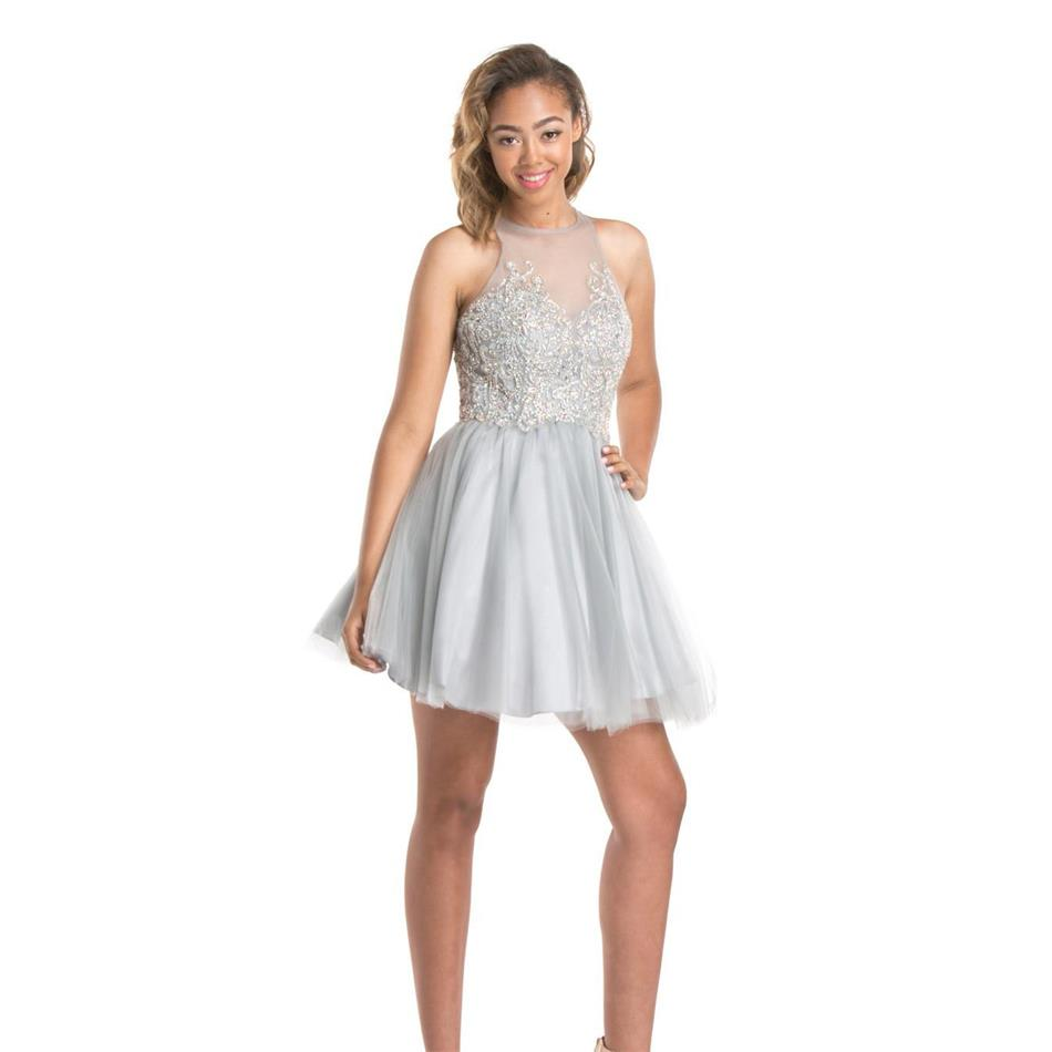 Cheap 2016 Short Silver Homecoming Dresses Ball Gown Exquisite Beaded Sheer Illusion Bodice Cute