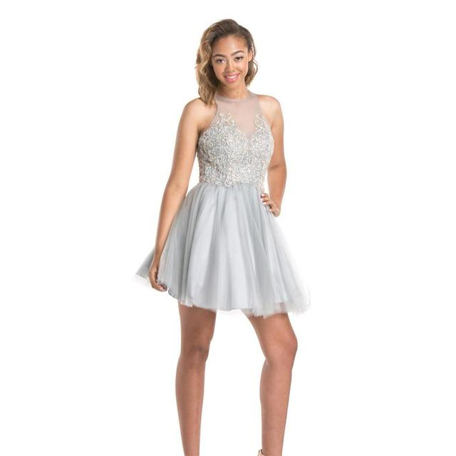 Cheap 2016 Short Silver Homecoming Dresses Ball Gown Exquisite Beaded Sheer Illusion Bodice Cute 8th Grade Prom Dress Party