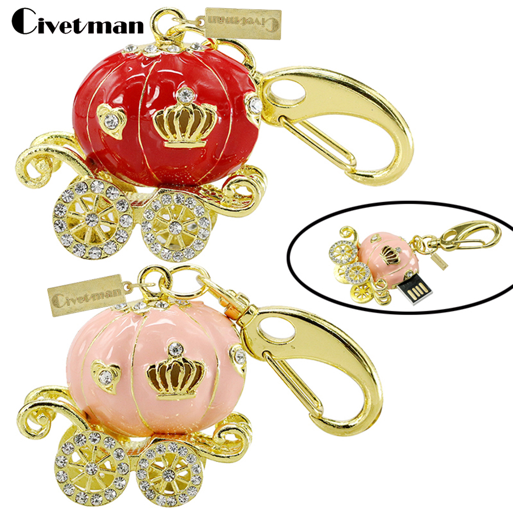 Fashion Jewelry Crystal Pumpkin Car USB Flash Drives 128GB Pen Drive Memory Stick 32GB 64GB Pendrive Disk On Key Gift