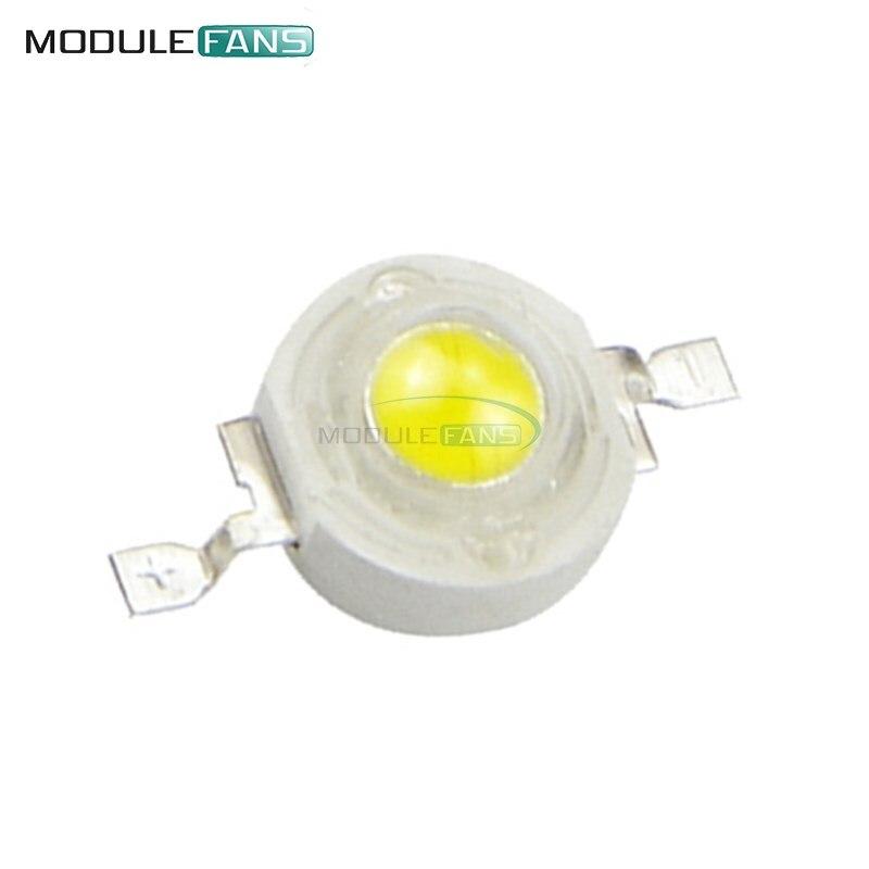 50PCS 300mA 1W LED de Alta potência Da Lâmpada beads Branco Puro 3.2-3.4V 100-120LM 30mil