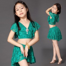 2017 New Belly Dance Costumes For Girl Children 2Pcs(Top+Skirt) Lace Kids Tribal Belly Dance Pracitce Indian Dance Costumes