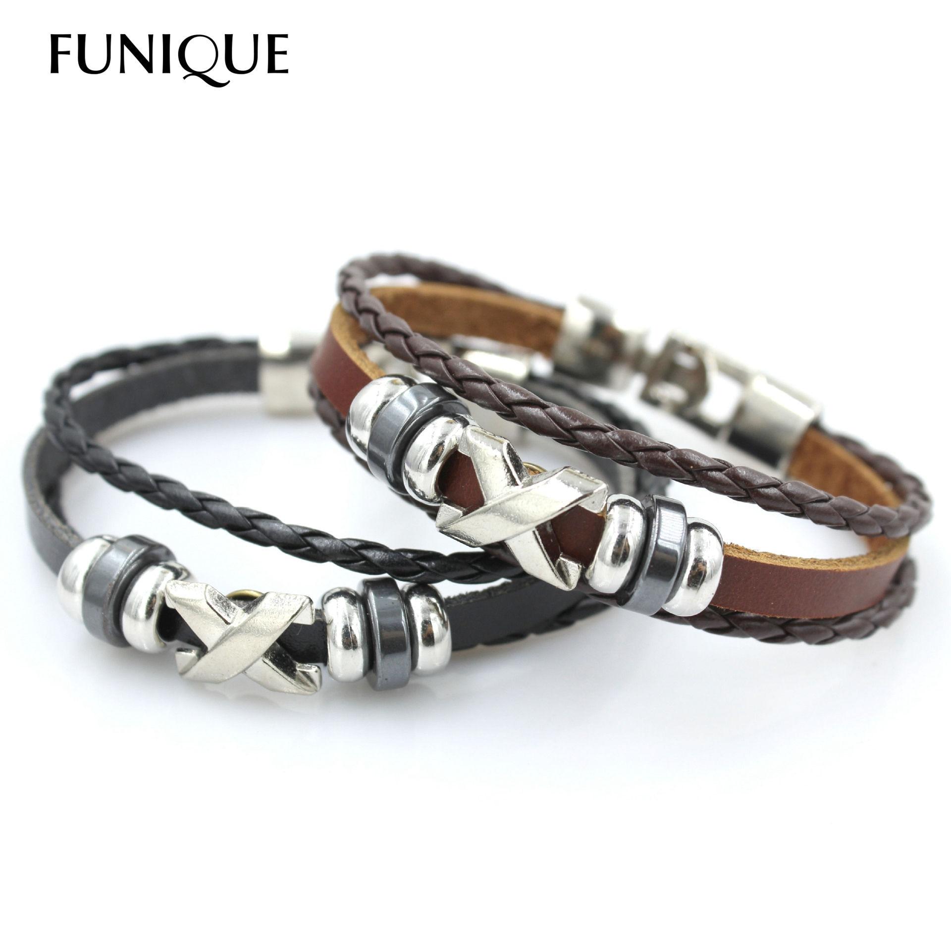 Punk Rock Multilayer Stainless Steel Beads Bracelet Men Braided Leather Bracelet For Women & Men Friendship Wrap Bracelets