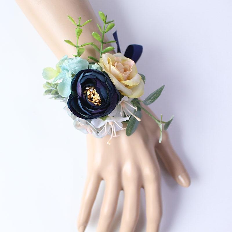 wrist flower bridesmaids Bracelets silk roses pink (18)