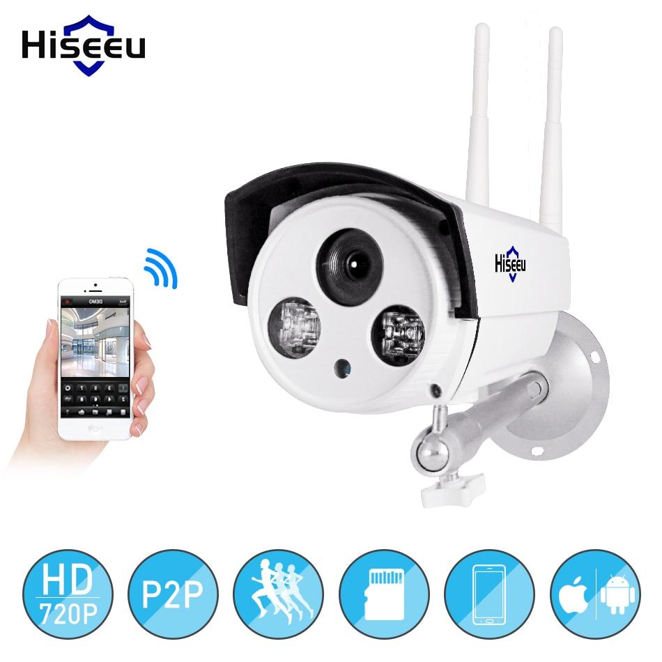 Hiseeu wifi caméra extérieure bullet HD 720 P rue IP kamara étanche sans fil IP cam cctv surveillance 64G SD fente pour carte